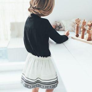 Zara girls off white boho, embroidered skirt
